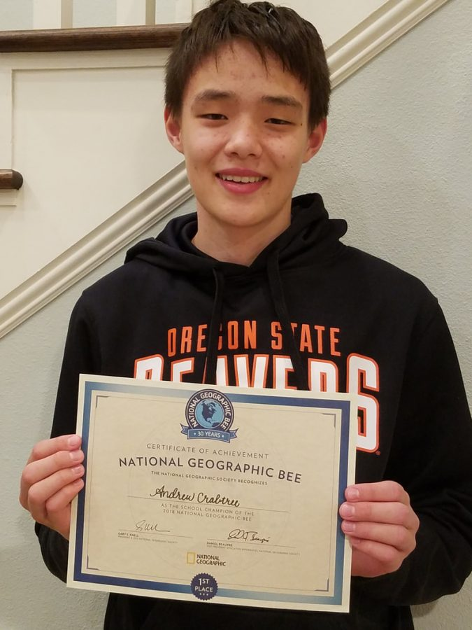 Andrew+Crabtree+%288%29+holding+his+certificate+as+the+school+champion+of+the+2018+National+Geographic+Bee.%C2%A0