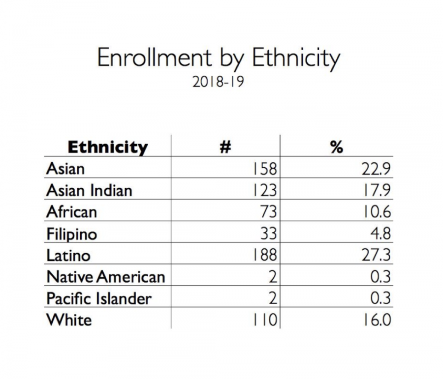 Enrollment+by+ethnicity+at+UPA+in+the+2018-19+school+year.+The+information+is+provided+by+Executive+Director+Daniel+Ordaz.