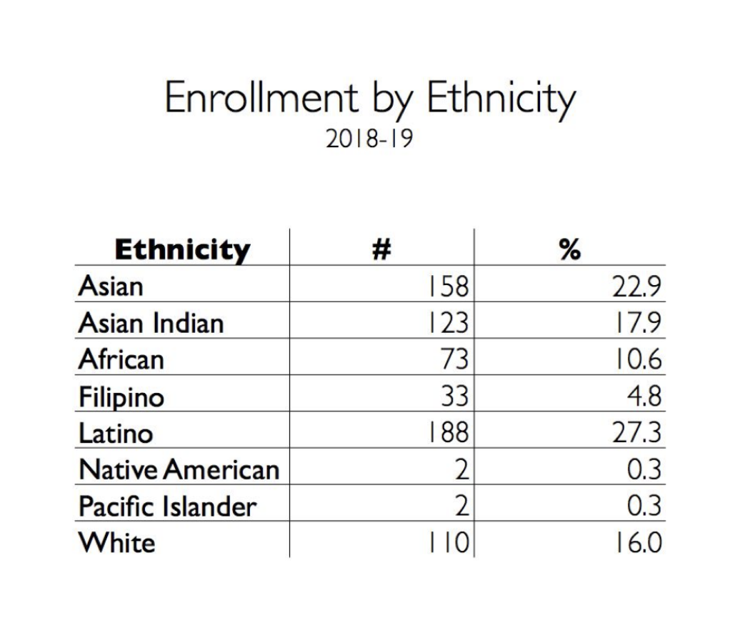 Enrollment by ethnicity at UPA in the 2018-19 school year. The information is provided by Executive Director Daniel Ordaz.