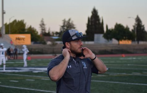 McMahon getting ready to call the plays against Pioneer. Photo courtesy of Ryan McCarthy, Branham class of 2019.