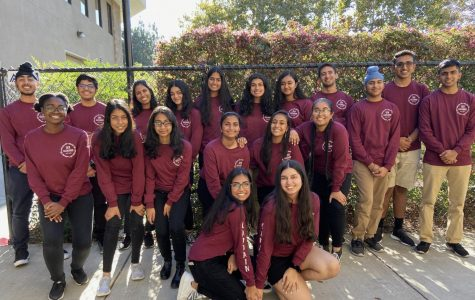 The 2019-2020 Bollywood dance team, Guzarrish, poses for a photo before their weekly Friday afterschool practice. Guzarrish means