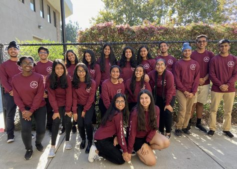 "The 2019-2020 Bollywood dance team, Guzaarish, poses for a photo before their weekly Friday afterschool practice. Guzaarish means ""to request"" in Urdu, junior Pari Gupta said."