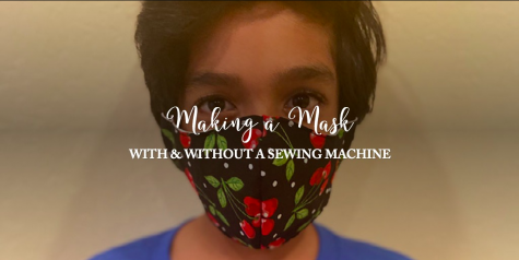 Taran Kollu (5), Alta Vista Elementary, wears a mask made with a sewing machine.