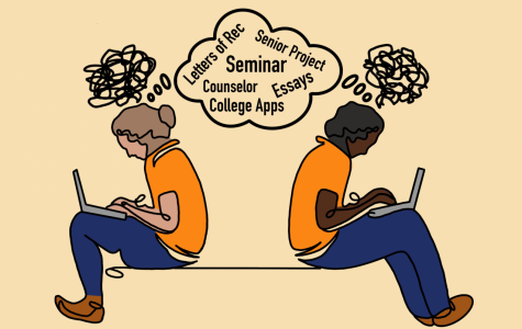 Digital illustration of two students thinking about college applications and senior seminar.