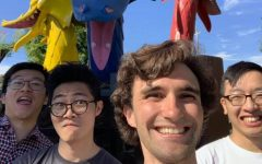 Science teacher Matthew Bourbeau's UC Irvine roommates snap a goofy picture at Golfland in San Jose during the summer of 2019. From left to right: Jason Yu, Reo Sato, Bourbeau and Robert Dang.